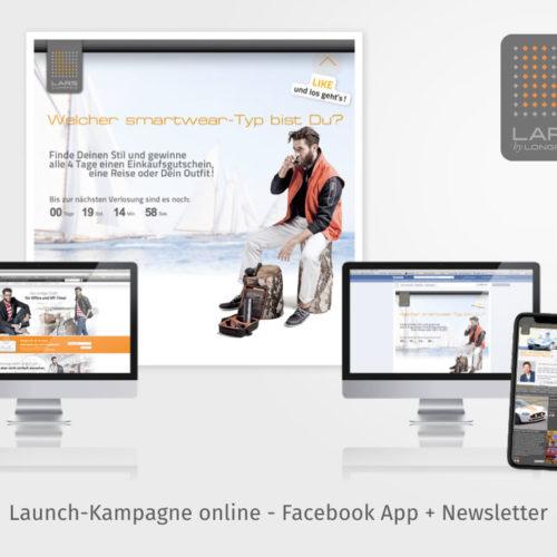 Launch-Kampagne online - Facebook App + Newsletter